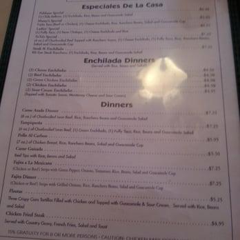 Oasis Mexican Cafe San Antonio Menu