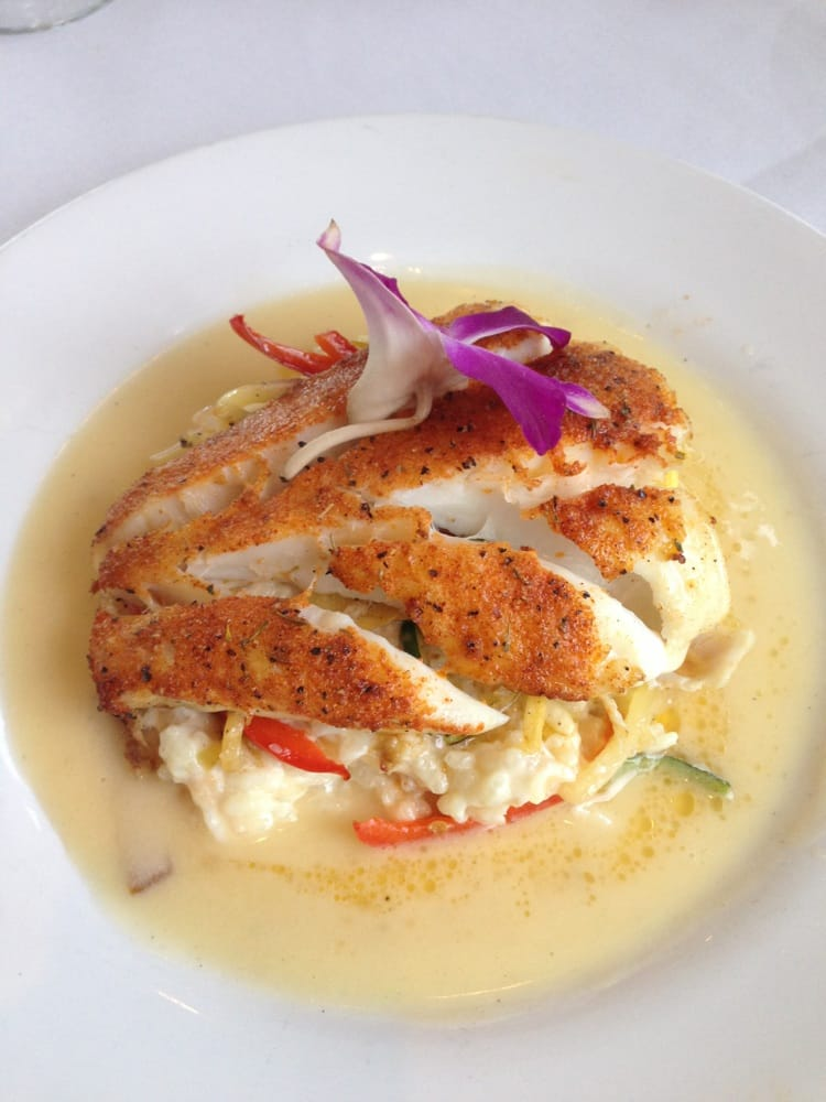 Blackened halibut with lobster risotto (DELICIOUS) - Yelp