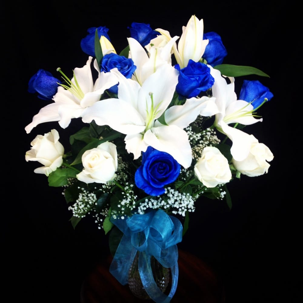 Blue rose and white lily flower arrangement visit us at www photo of garden of roses moreno valley ca united states blue rose mightylinksfo Image collections