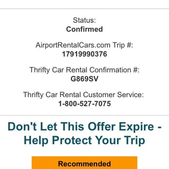 Thrifty Car Rental  Phone Number