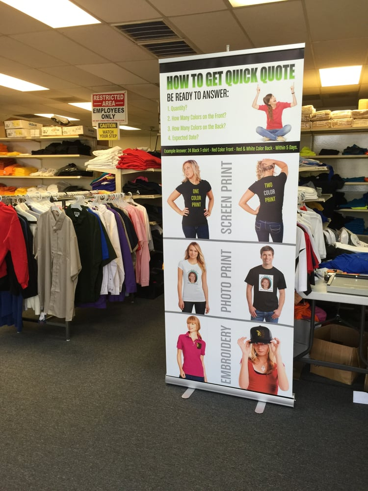 Retractable banner yelp for T shirt printing in houston tx
