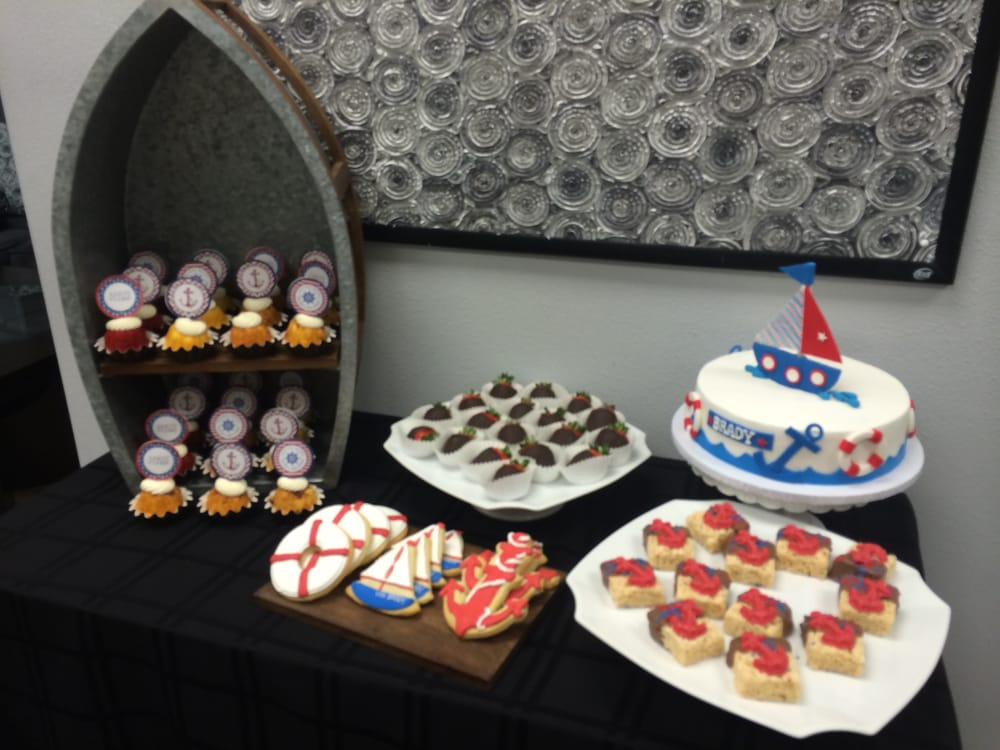 Nautical themed baby shower dessert table yelp for Table 52 yelp