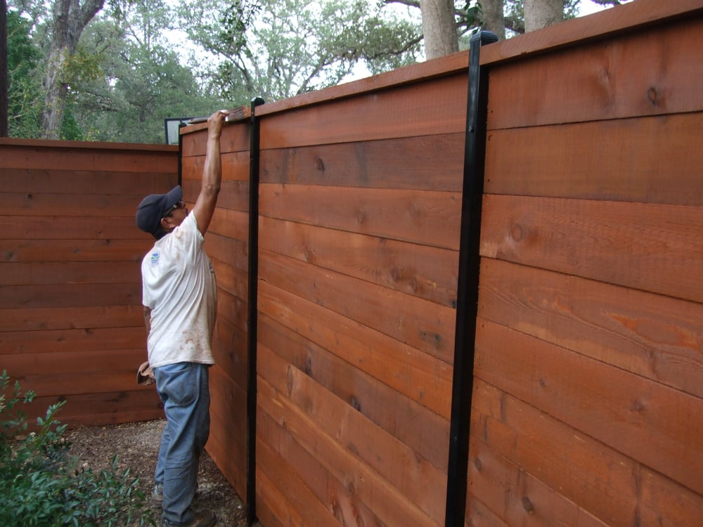 Cabot Chestnut Brown On New Cedar Fence Built By Nw Iron Yelp