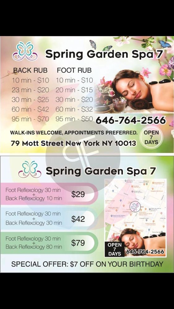 Spring Garden Spa 7: 79 Mott St, New York, NY