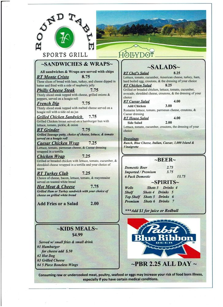 Round Table Sports Grill: 55 N Parkway, Colorado City, CO