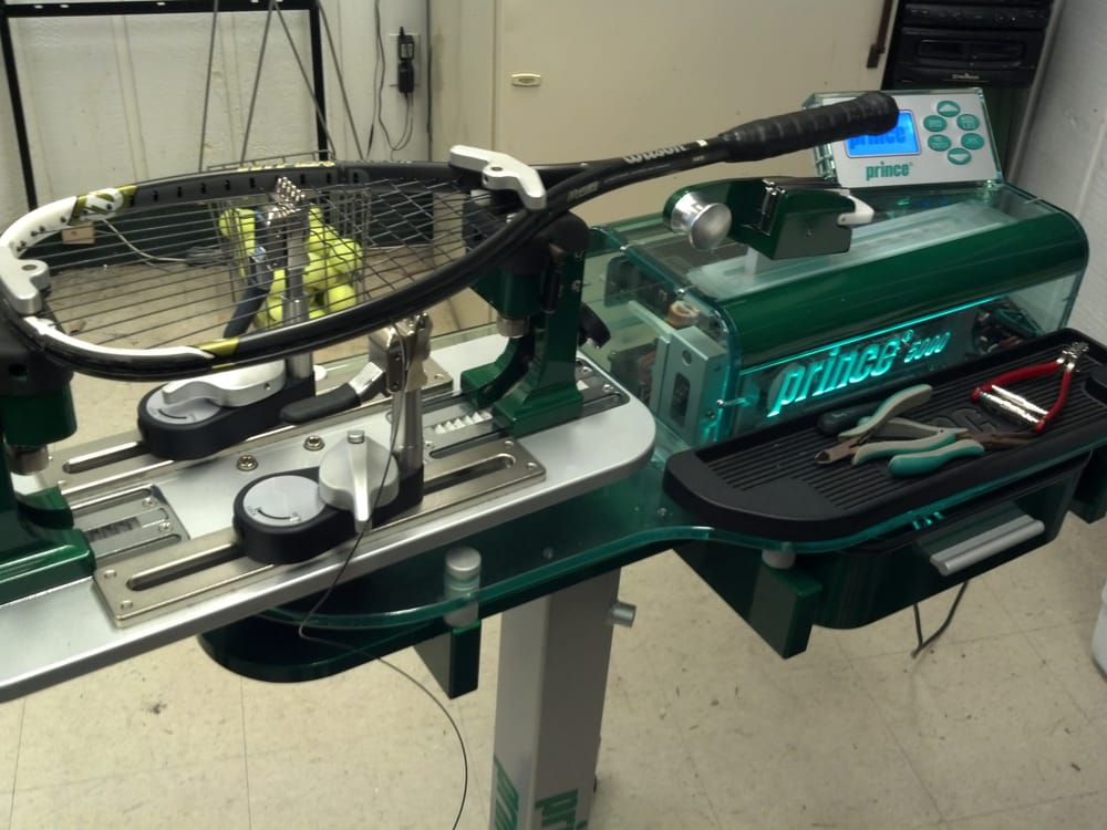 Stringing A Wilson Squash Racquet On Our Prince 5000 Stringing