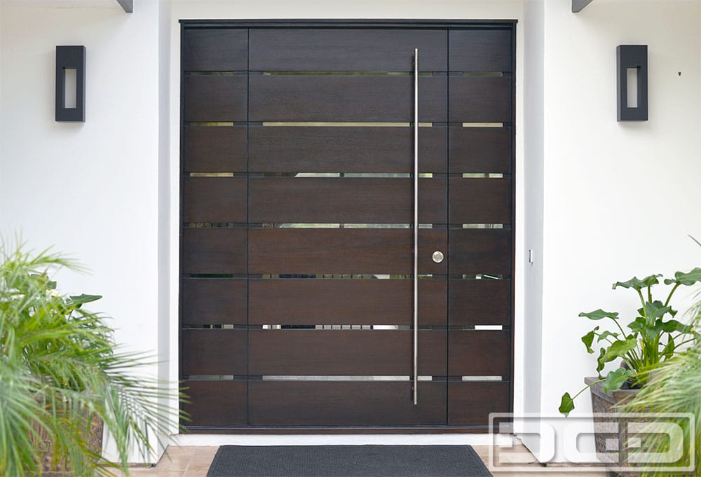 Orange county ca modern entry doors in solid mahogany for Contemporary front doors