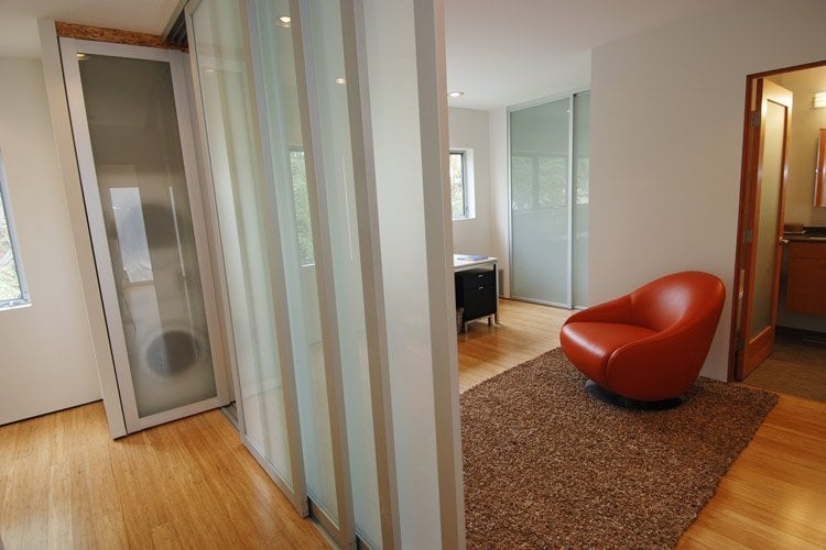 Room Divider With Silver Frame And Frosted Glass Swing Door And Closet Doors In The Background
