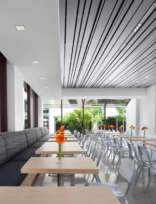 corporate cafeteria cupertino ca modern dining banquette seating metal chairs recessed. Black Bedroom Furniture Sets. Home Design Ideas