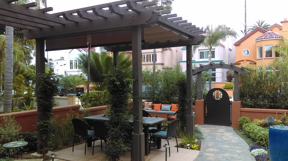 New pergola with bench seating in the background yelp for Southwest pergola