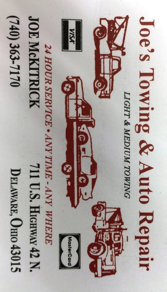 Joe's Towing And Auto Repair: 711 US Highway 42 N, Delaware, OH