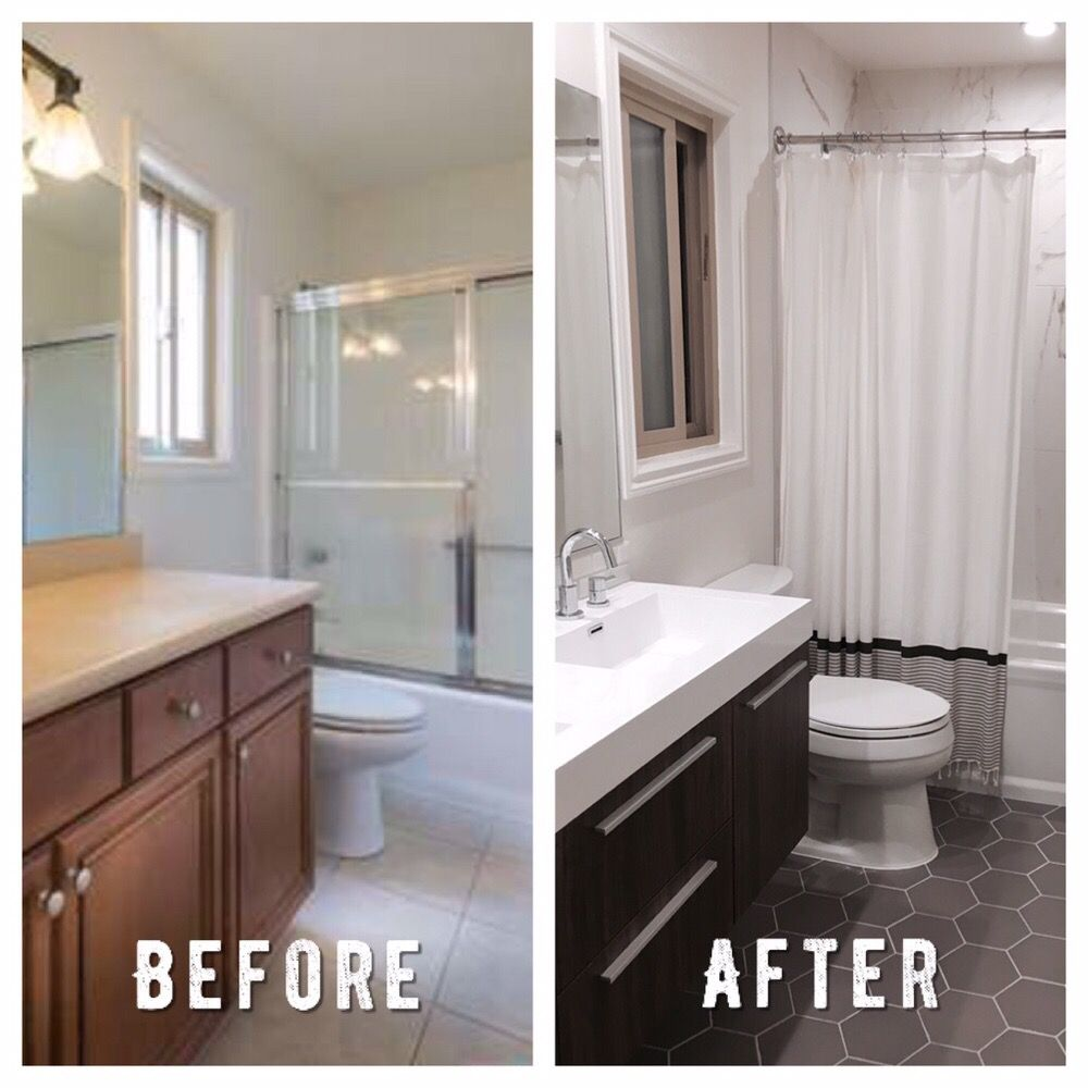 Before and after picture of a bathroom remodel in pasadena for Bathroom remodel yelp