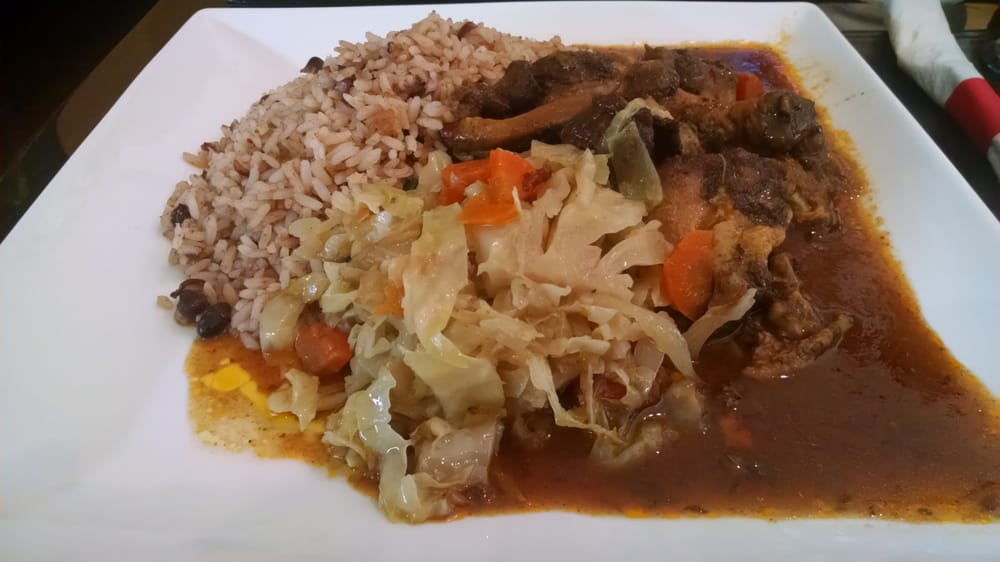 brown stew chicken w/ peas and rice and cabbage  yelp