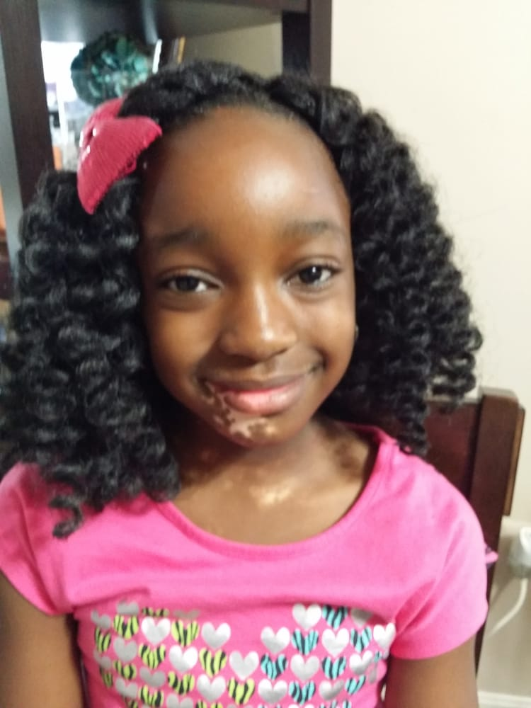 My adorable 8year old client with marley curled crochet ...