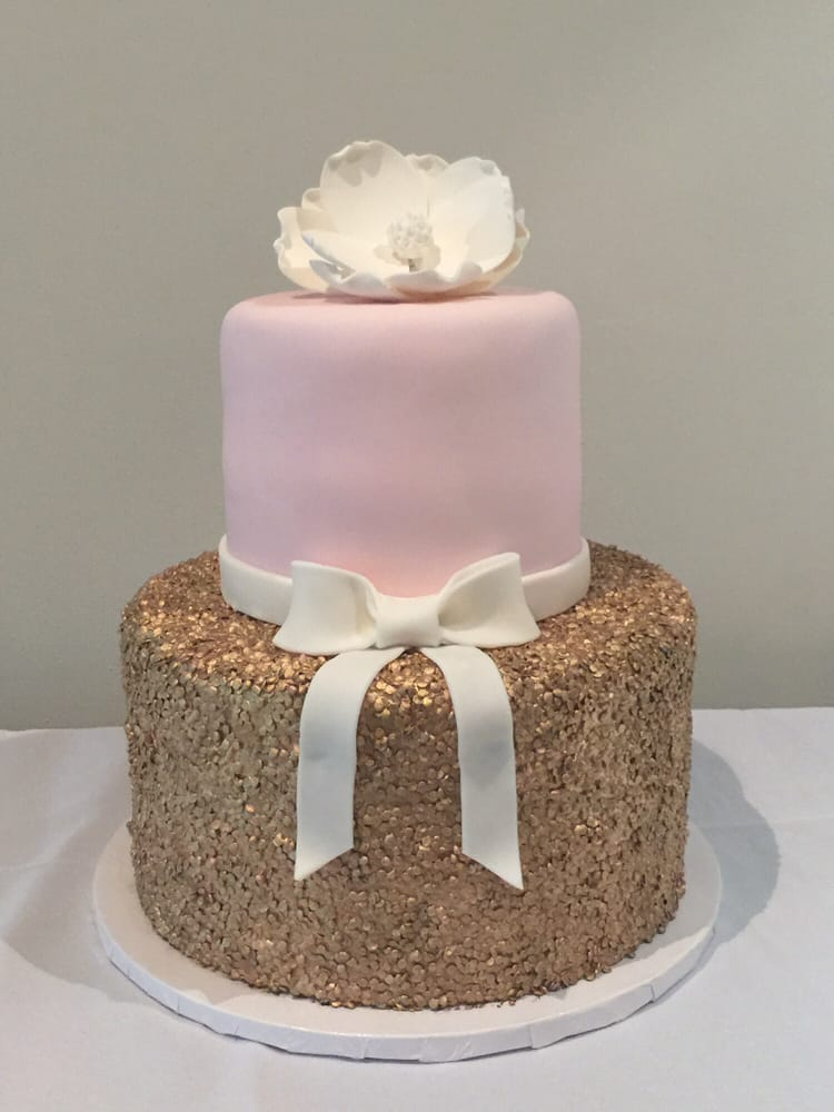 My Perfect Pink Gold And White Themed Baby Shower Cake Thanks