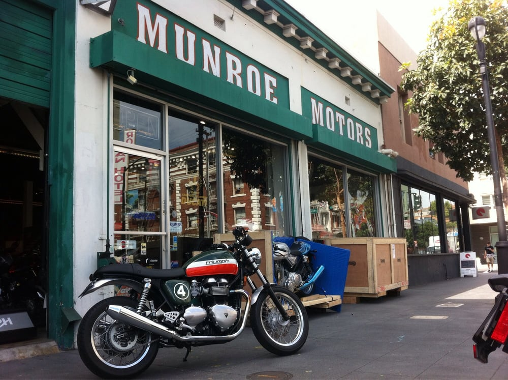 Great custom thruxton in front of the old paint job at for Munroe motors san francisco ca