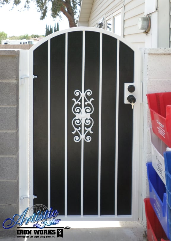 Side Gate With Black Perforated Metal Privacy Screen Yelp