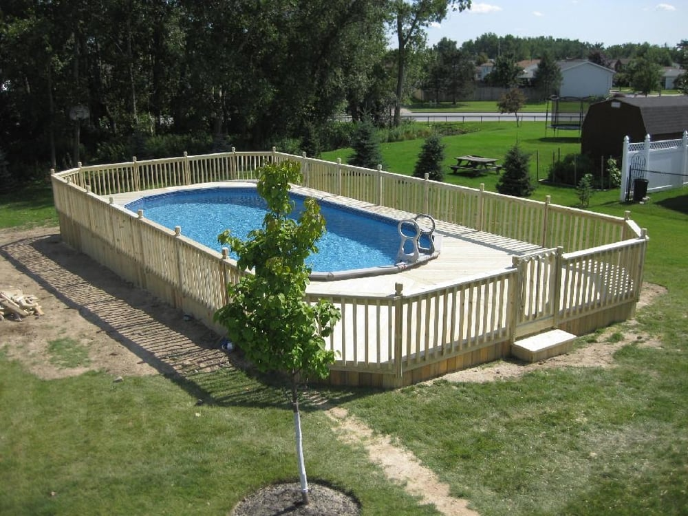 Superior decks gazebo s decks railing 8119 erie rd for Above ground pool siding ideas