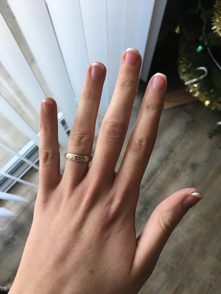 Gel manicure on natural nails with French tips - Yelp