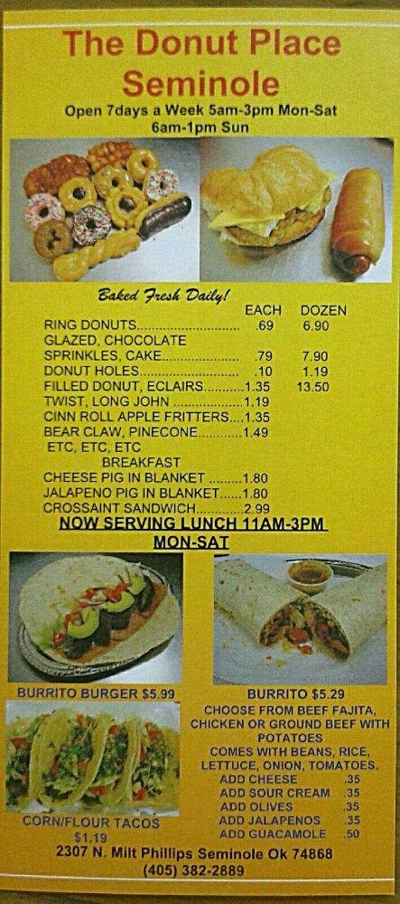 Donut Place: 2307 N Milt Phillips Ave, Seminole, OK