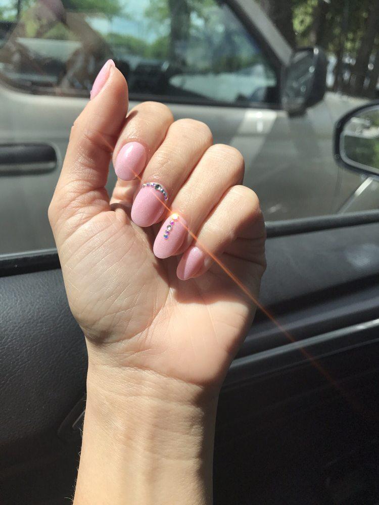 SNS/Nexgen dip powder nails in 29 with rhinestones! Gorgeous almond ...