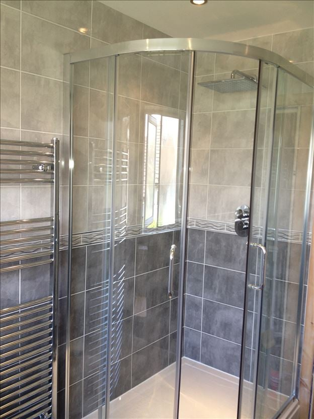 New bathroom shower cubicle and chrome towel radiator. - Yelp