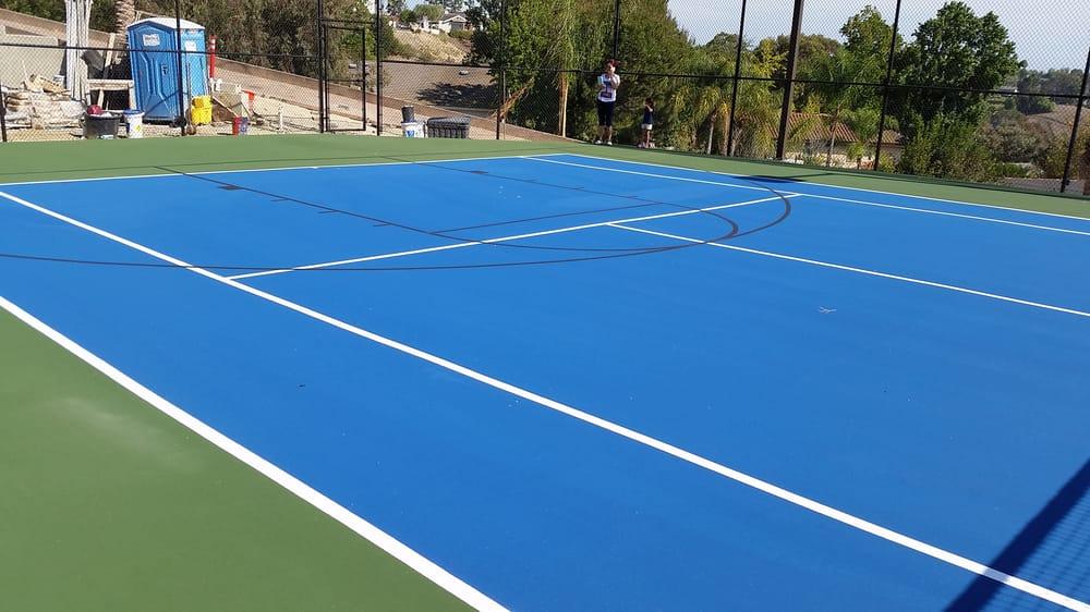 Custom Tennis Court Resurfacing This Job Has A Doubles Tennis Court