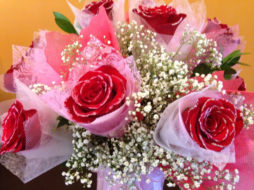 Hong Kong style roses. Red roses with pink tips. - Yelp