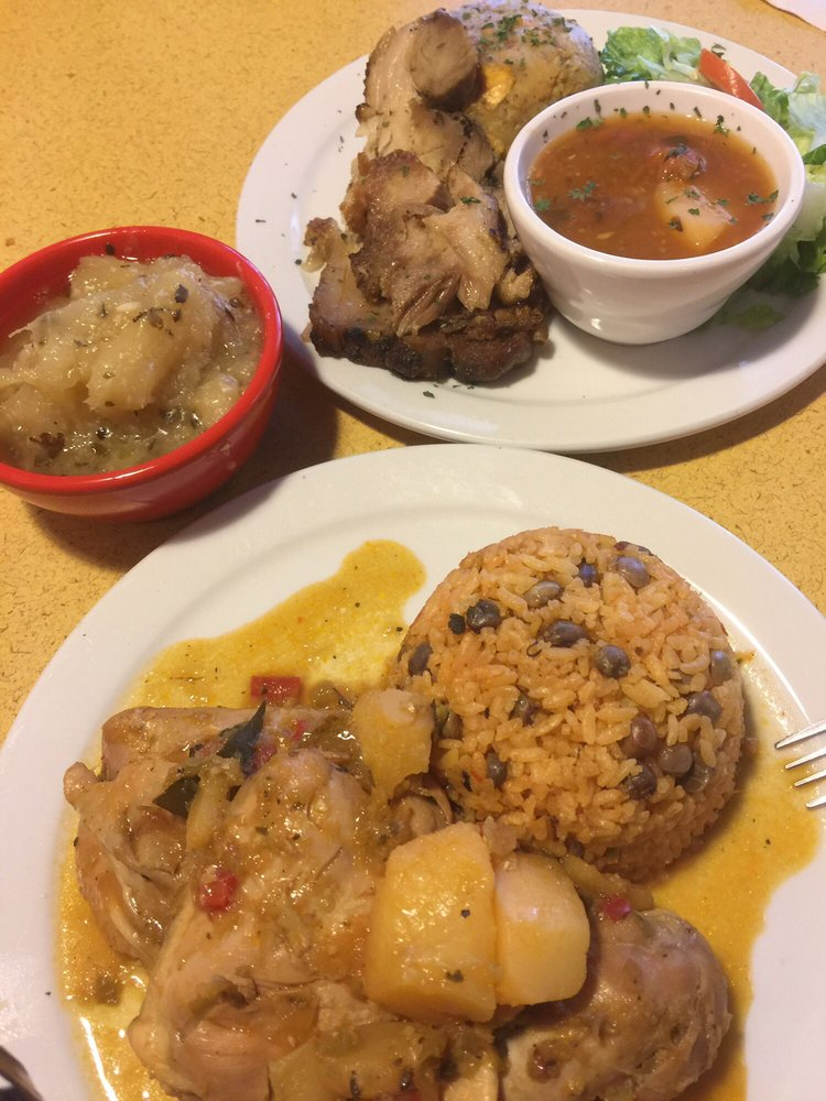 Bottom stewed chicken with puerto rican rice a side of for Authentic puerto rican cuisine