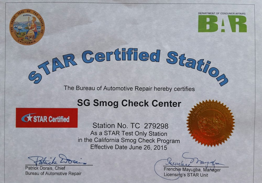 Photo Of Sg Smog Check Center Vallejo Ca United States Star Certified