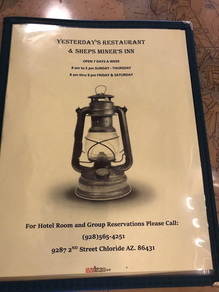 Yesterdays Restaurant: 9827 N Second St, Chloride, AZ