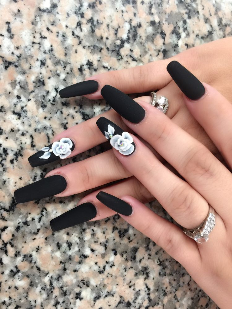 3d Flowers Long Coffin Nails Design Lt Nails Chatsworth Yelp