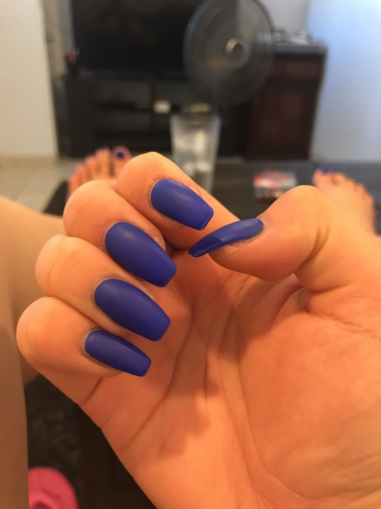 Matte Royal Blue With Natural Coffin Gel Extensions Yelp