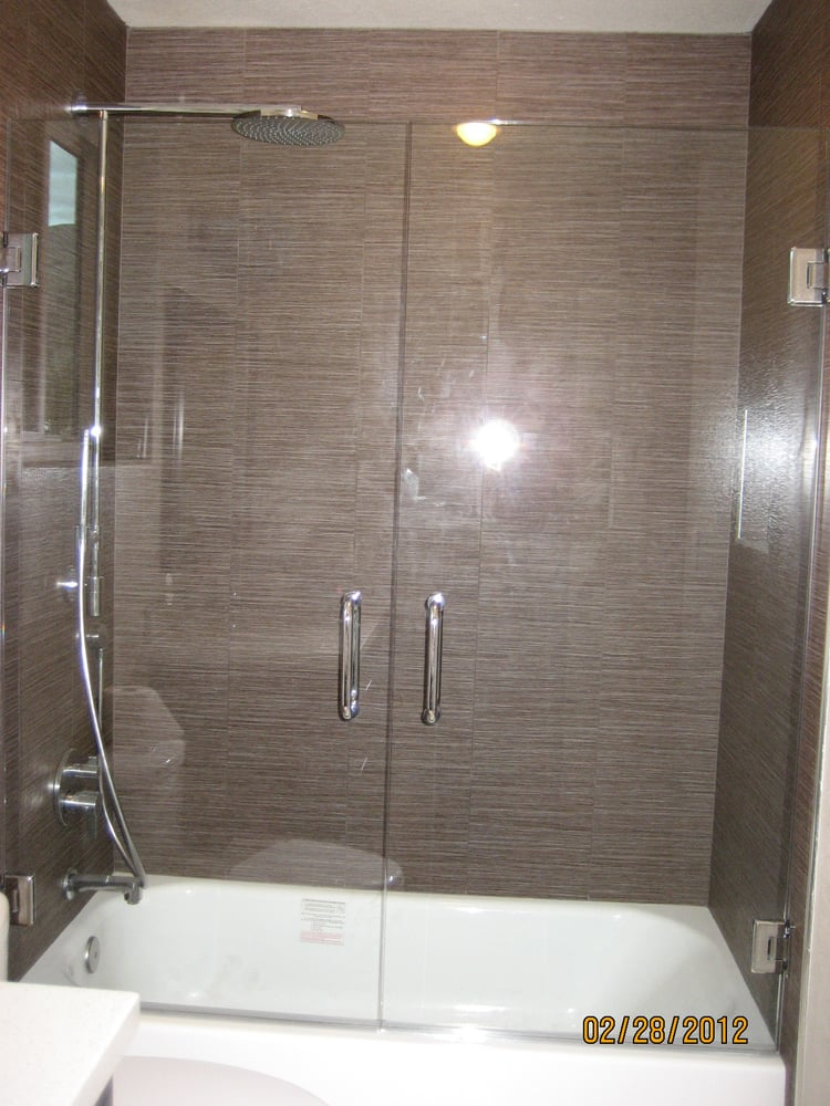 Glass Shower Doors Over Tub double swing shower door over tub - yelp
