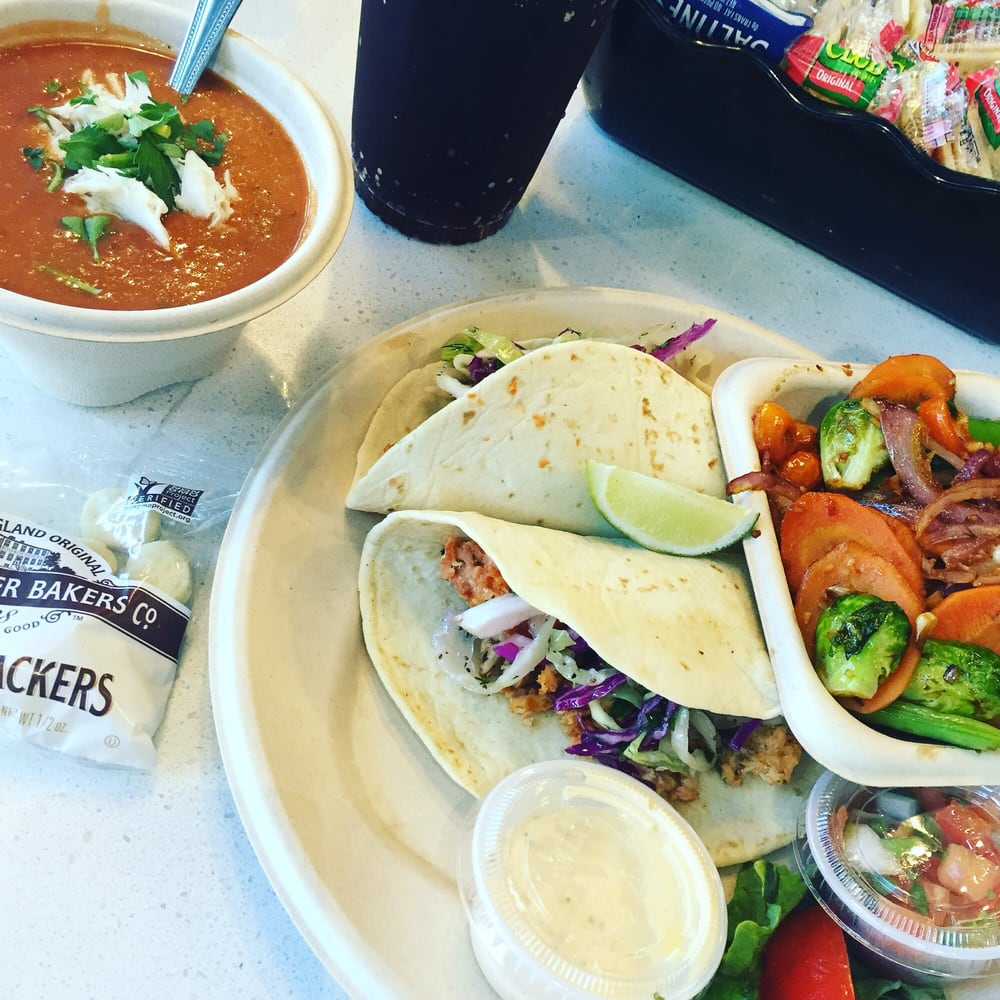 Salmon fish tacos with side of roasted veggies and soup of for Sides for fish tacos
