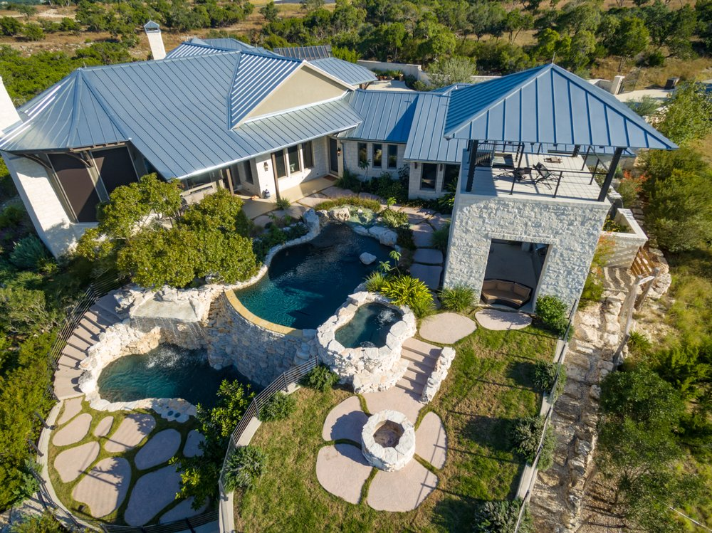 Texas Hill Country Pool With Custom Coping Oversized