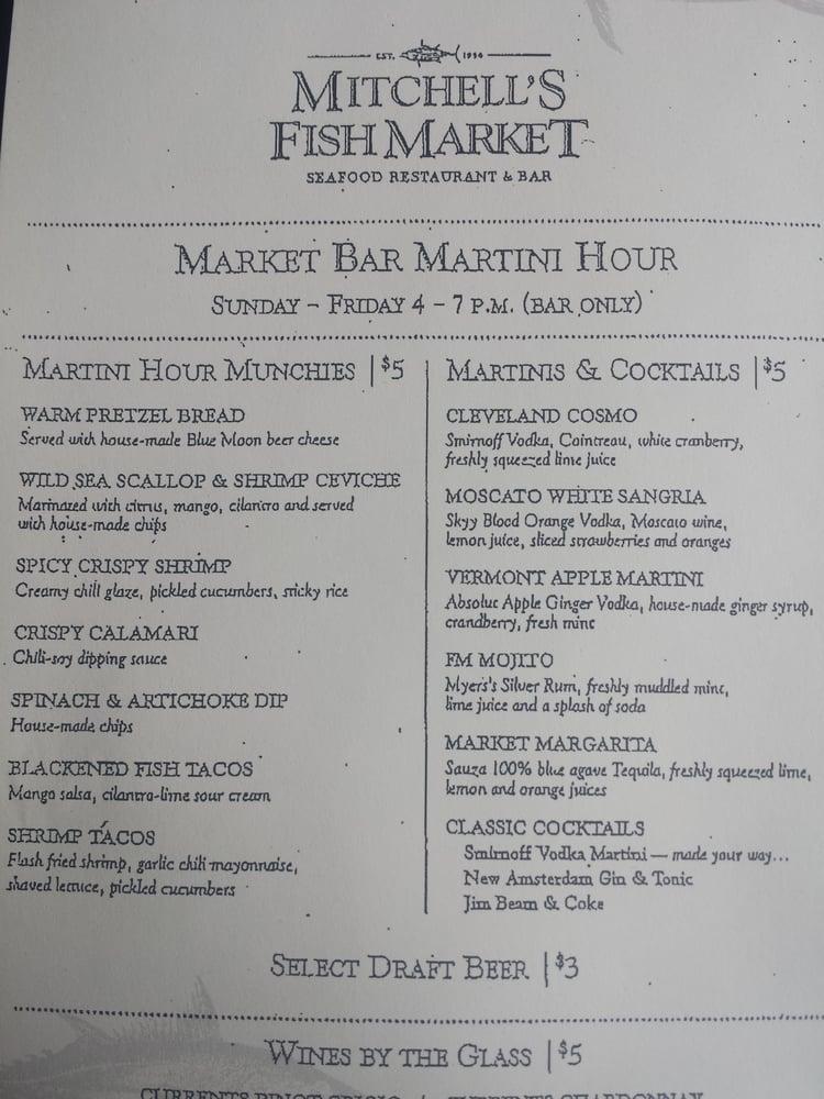 Happy hour menu yelp for Mitchell s fish market menu