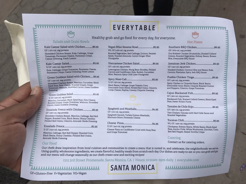 Photo of Everytable - Santa Monica, CA, United States. The paper menu