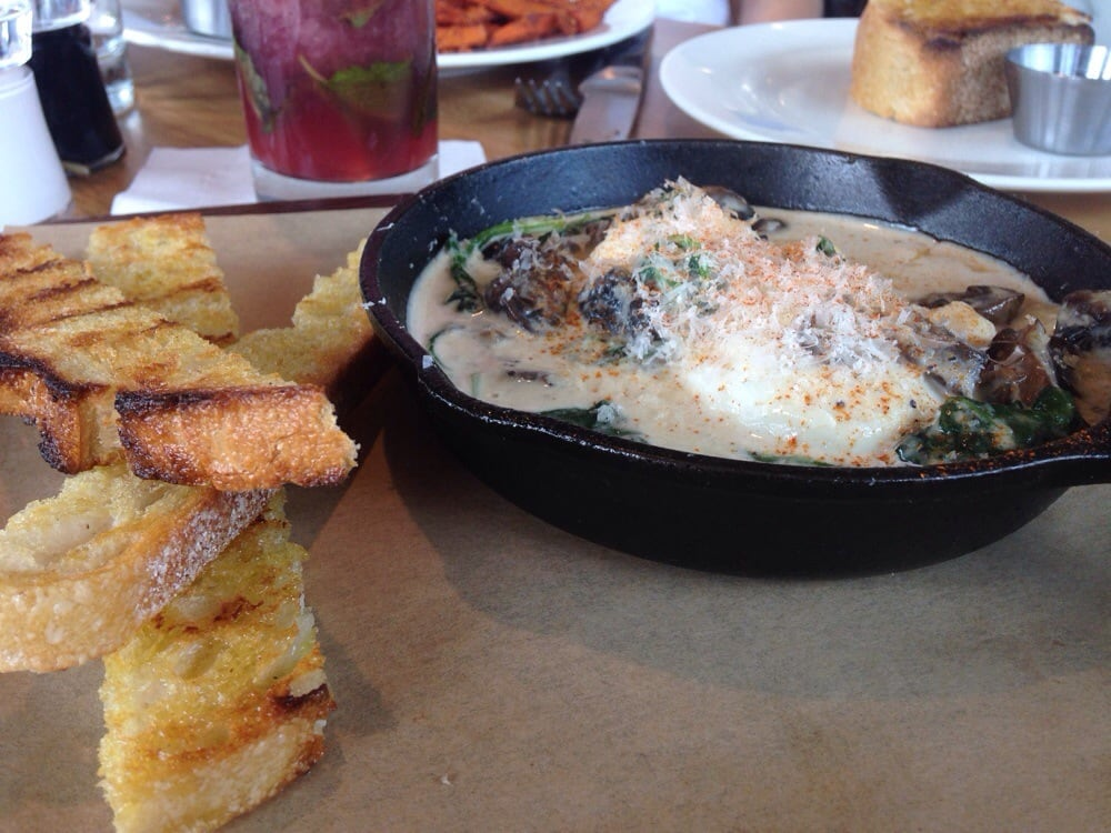 Eggs Florentine With A Polenta Base Mushrooms And Toasted Sour Dough Yelp
