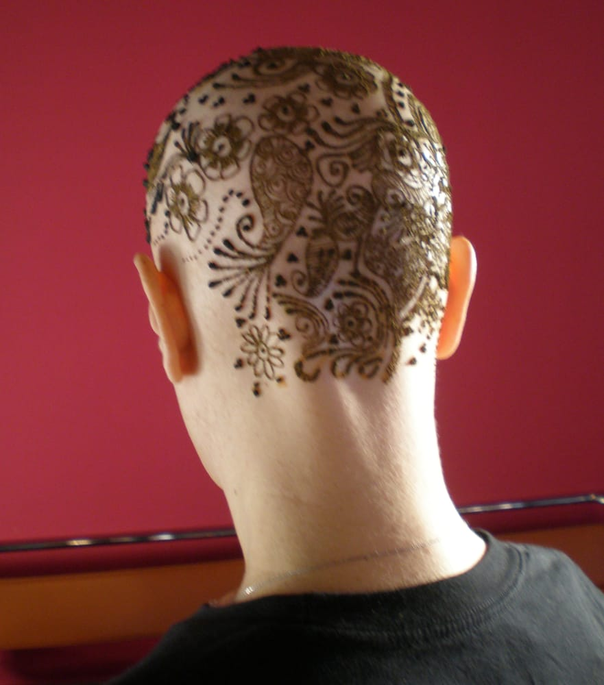 henna on a bald head an intricate henna design applied on a customer 39 s shaved head yelp. Black Bedroom Furniture Sets. Home Design Ideas