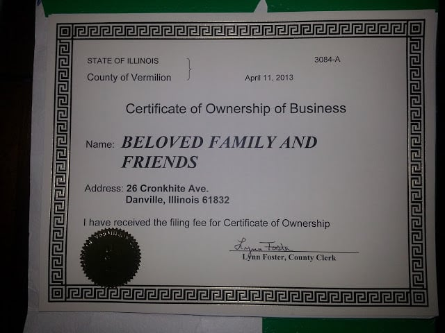 Certificate of Ownership of Business - Yelp