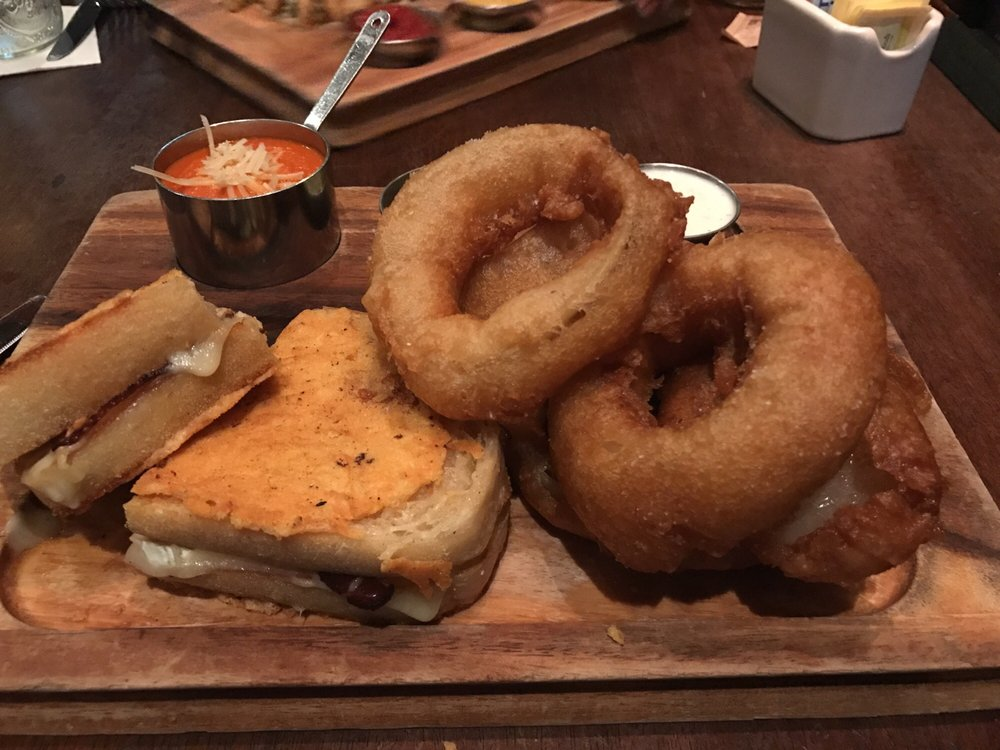 Grilled cheese w/bacon & tomato soup & onion rings! - Yelp