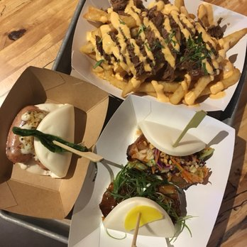Photo of Enter The Bao - Plano, TX, United States. All three baos plus the brisket fries
