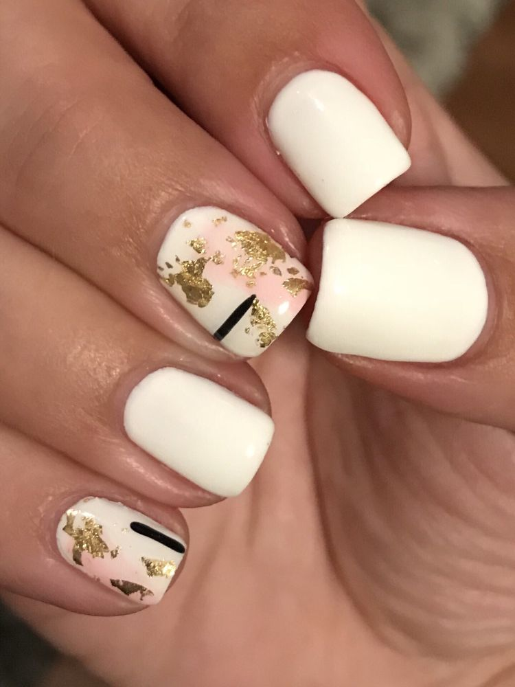Close Up White Gel Mani W Gold Pink Black Art Inspired Design