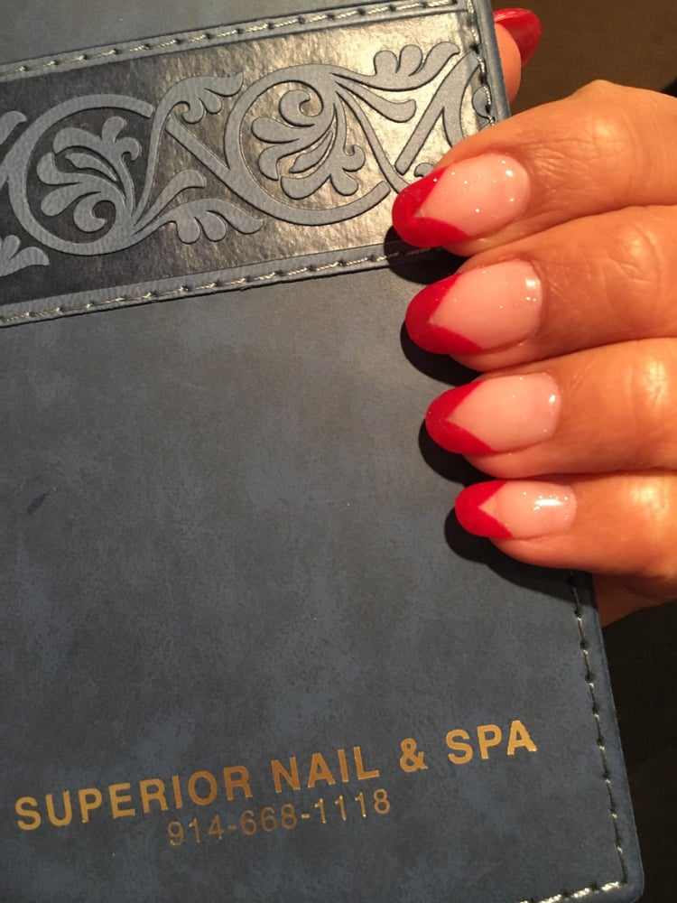 Red French tip gel nails for the Christmas holiday - Yelp
