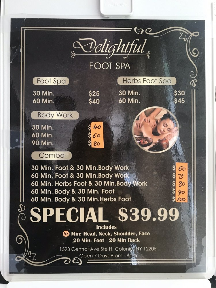 delightful foot spa: 1593 Central Ave Suit H, Albany, NY