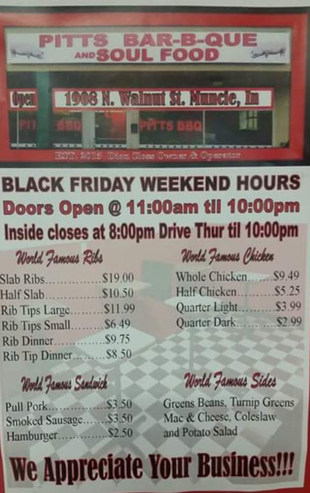 Pitts BBQ And Soul Food: 1908 N Walnut St, Muncie, IN