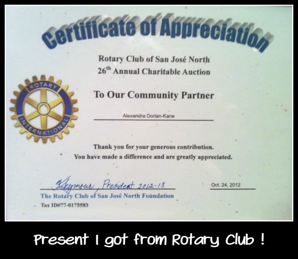 Certificate of appreciation from the rotary something were very photo of emiles restaurant san jose ca united states certificate of appreciation yadclub Images