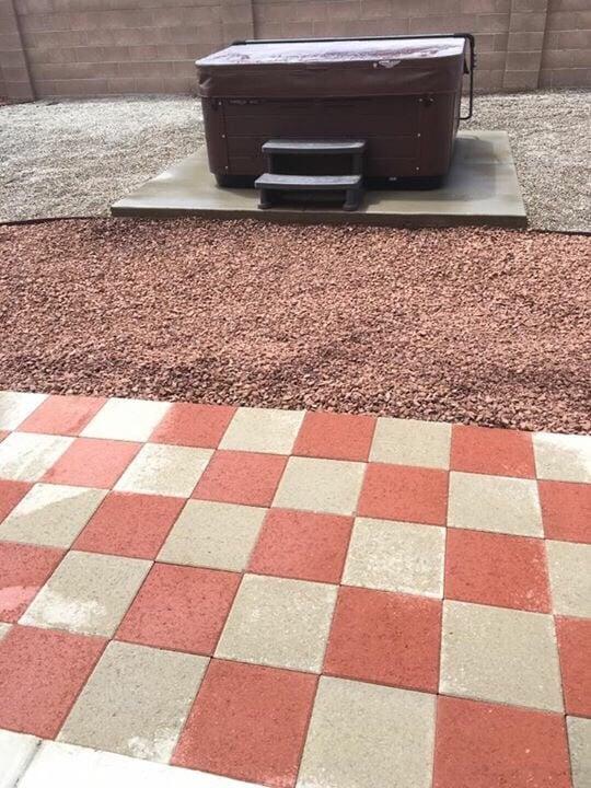Paver Patio Red Gravel 3 4 Grey Gravel Concrete Slab
