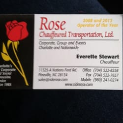 Rose chauffeured transportation 12 reviews limos 11325 a photo of rose chauffeured transportation charlotte nc united states business card reheart Choice Image